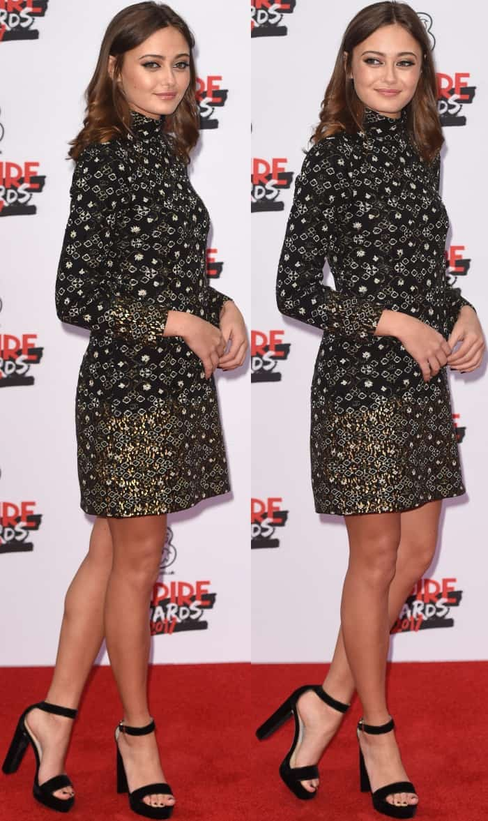 Ella Purnell wearing a long-sleeved embroidered frock with metallic detailing from Chanel and black ankle-strap sandals at the 2017 Three Empire Awards