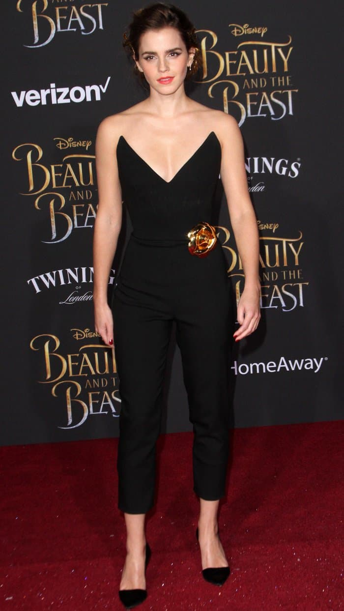 Emma Watson wearing a black jumpsuit from Oscar de la Renta at the 'Beauty and the Beast' Hollywood premiere