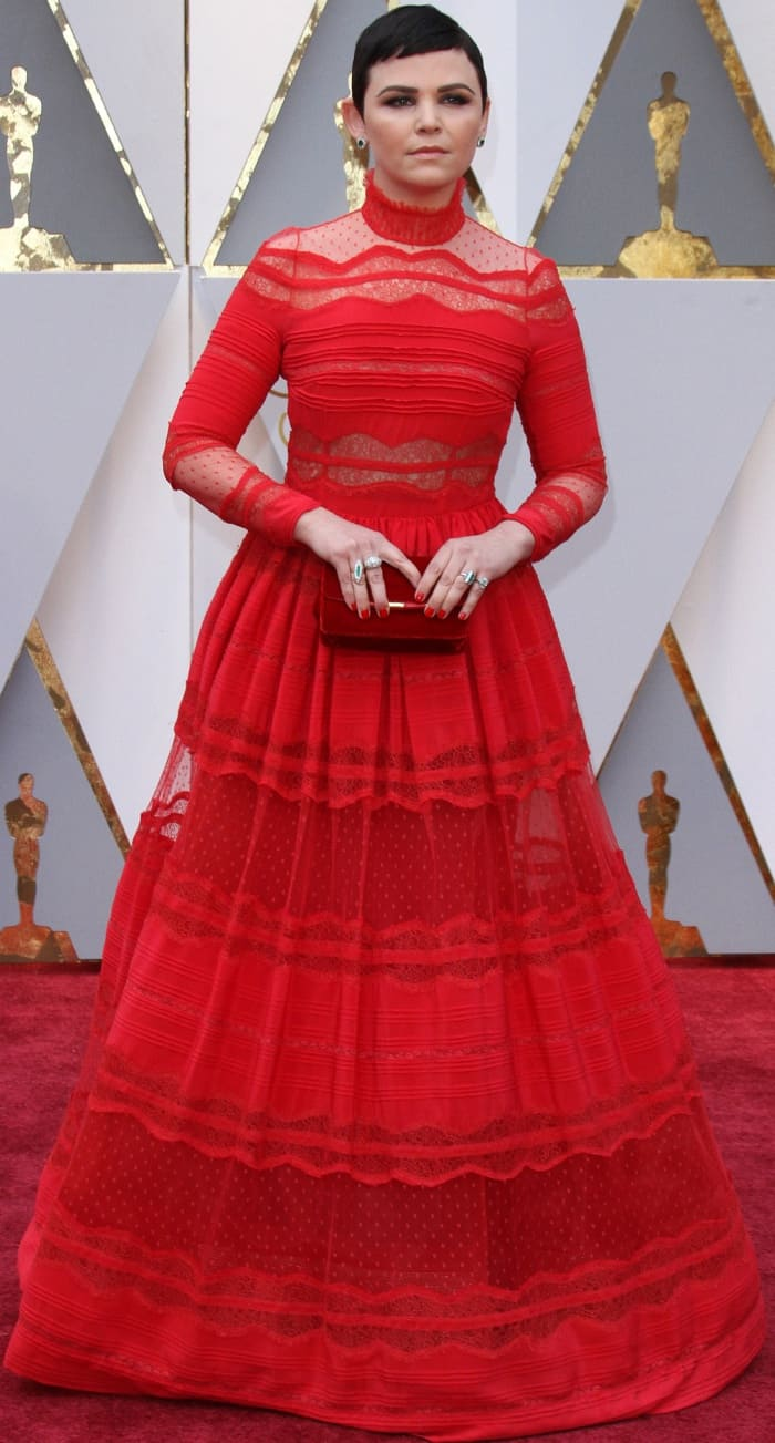 Ginnifer Goodwin wearing a red lace gown from Zuhair Murad at the 2017 Oscars