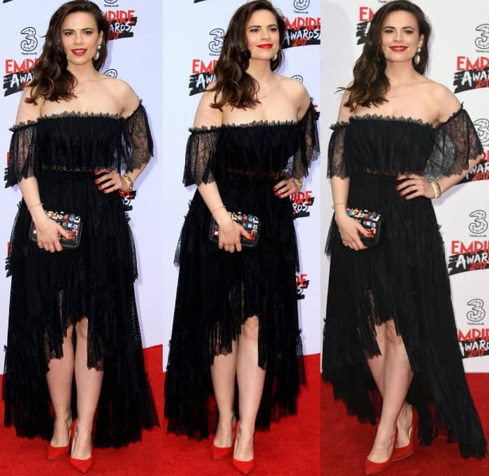Hayley Atwell wearing a black lace frock from Philosophy di Lorenzo Serafini and red suede pumps from Jimmy Choo at the 2017 Three Empire Awards