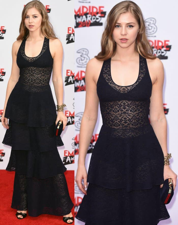 Hermione Corfield wearing a see-through lacy knit dress from Stella McCartney and black peep-toe heels at the 2017 Three Empire Awards