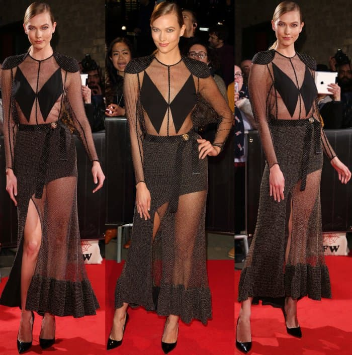 Karlie Kloss wearing a black sheer gown from Louis Vuitton at The Naked Heart Foundation's Fabulous Fund Fair