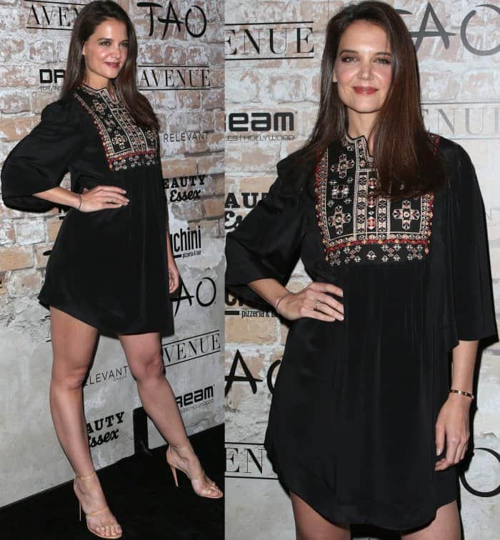 "Katie Holmes wearing the Isabel Marant ""Ren"" embroidered shift dress and Tamara Mellon ""Frontline"" sandals"