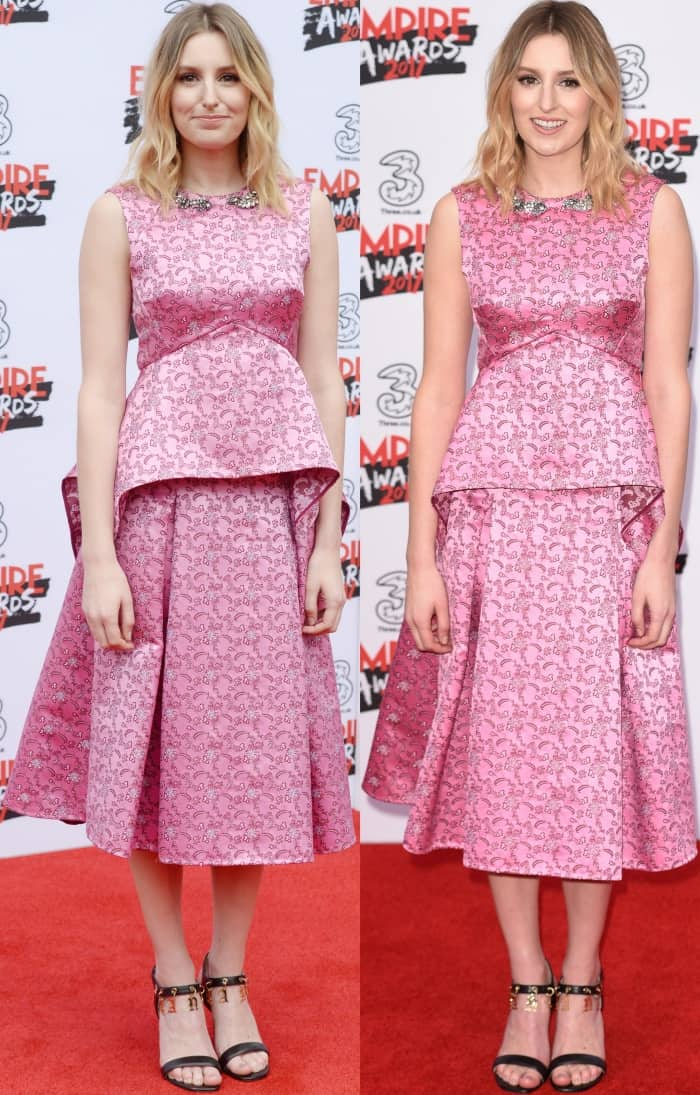 Laura Carmichael wearing a pink embroidered dress from Erdem and a pair of black and gold embellished sandals at the 2017 Three Empire Awards