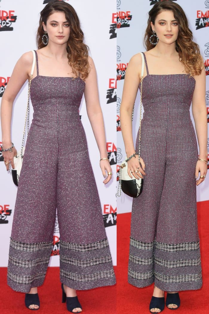 Millie Brady wearing a tweed wide-leg jumpsuit from Chanel and black mule sandals at the 2017 Three Empire Awards