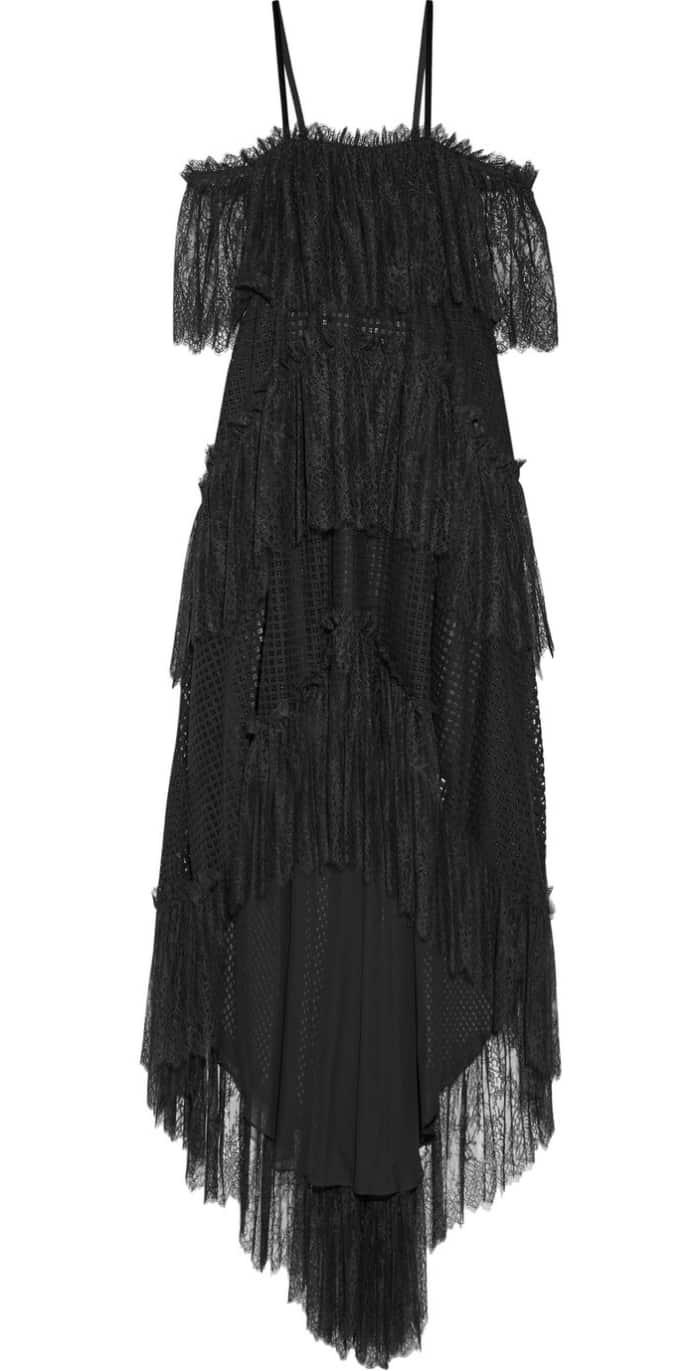 Philosophy di Lorenzo Serafini Asymmetric Tiered Off-the-Shoulder Cotton-Blend Lace Midi Dress