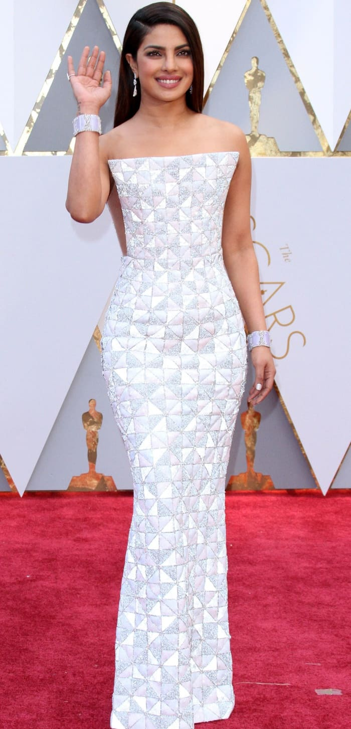 Priyanka Chopra wearing a strapless geometric couture gown from Ralph & Russo at the 2017 Oscars
