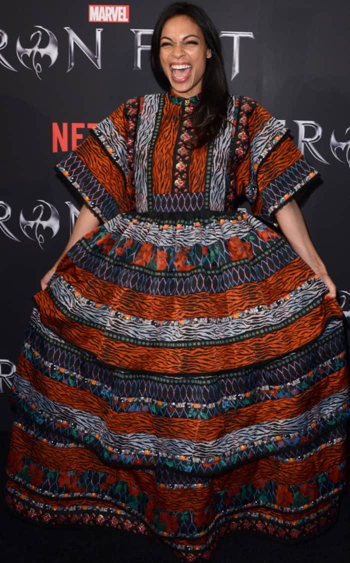 """Rosario Dawson wearing a Kenzo x H&M patterned maxi dress at the New York screening of Marvel's """"Iron Fist"""""""