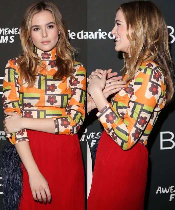 Zoey Deutch wearing an outfit from Prada's spring 2017 collection at the 'Before I Fall' New York screening