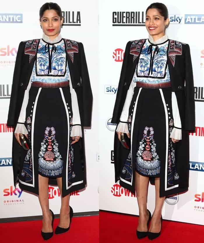 Freida picked a Temperley London ensemble that featured embroidered detailing all over