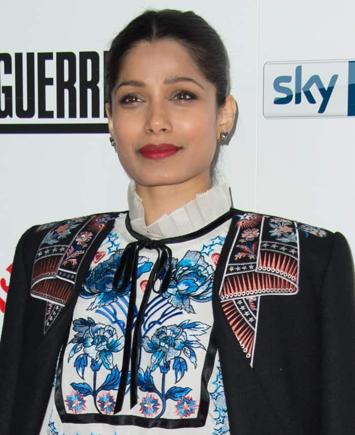"""Freida Pinto at the """"Guerrilla"""" UK TV premiere at the Curzon Bloomsbury in London"""