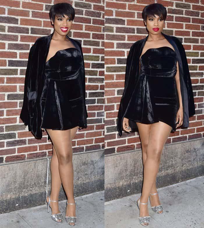 Jennifer Hudson showed off her slim legs in a short velvet mini dress