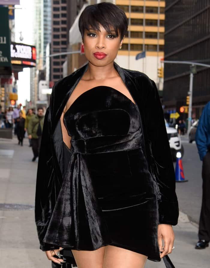 Jennifer's velvet mini dress featured a cinched waist belt detail