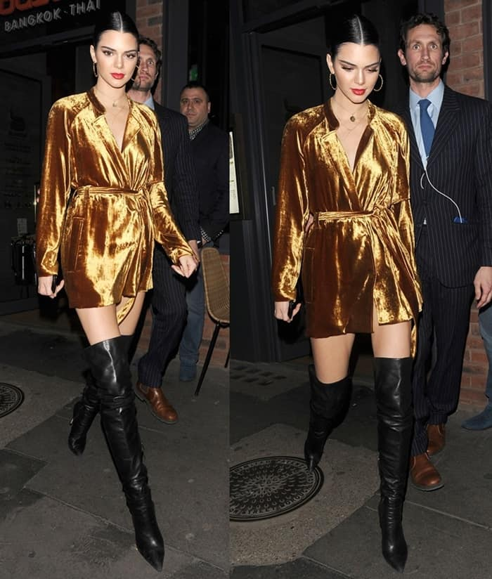 Kendall Jenner enjoys a late dinner at Busaba restaurant in London.