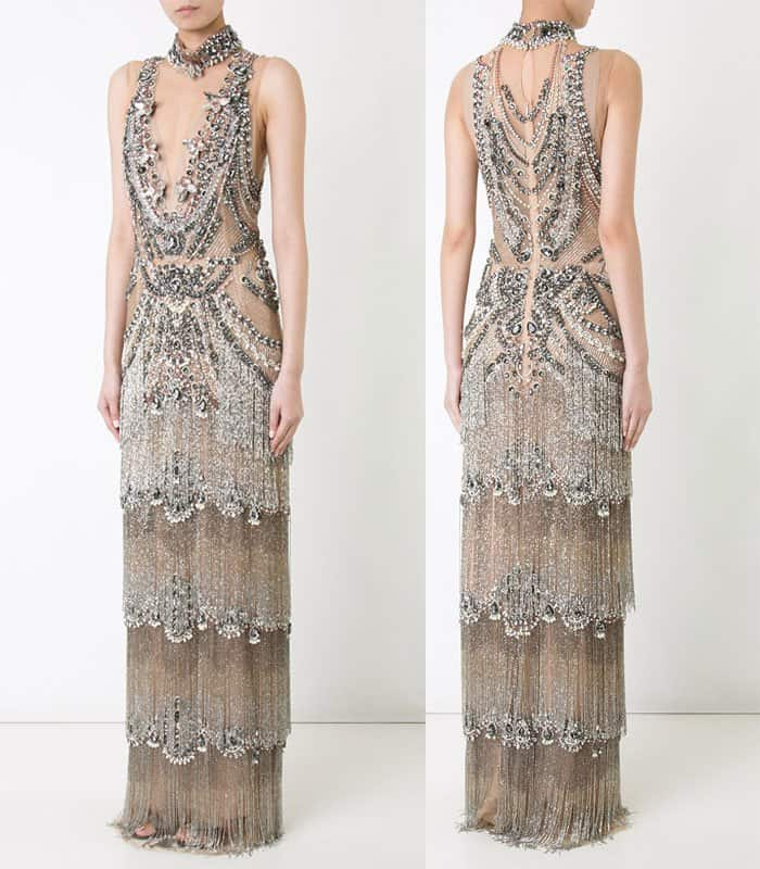 Marchesa embellished column fringe gown