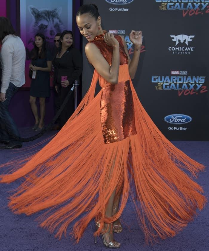 Zoe Saldana had a little bit of fun with her fringed dress on the carpet