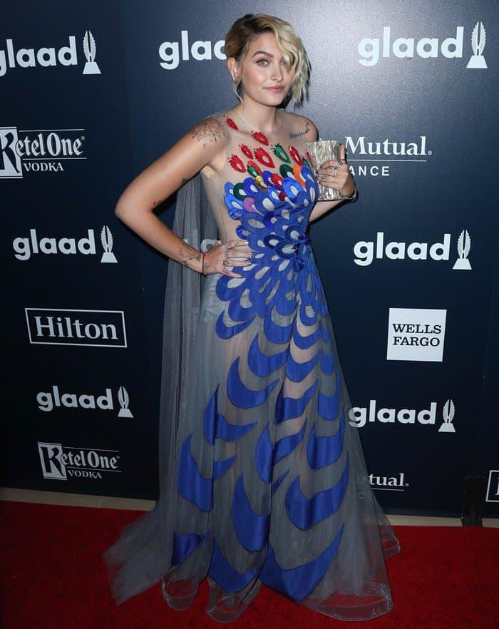 Paris Jackson wearing a semi-sheer Yanina Couture