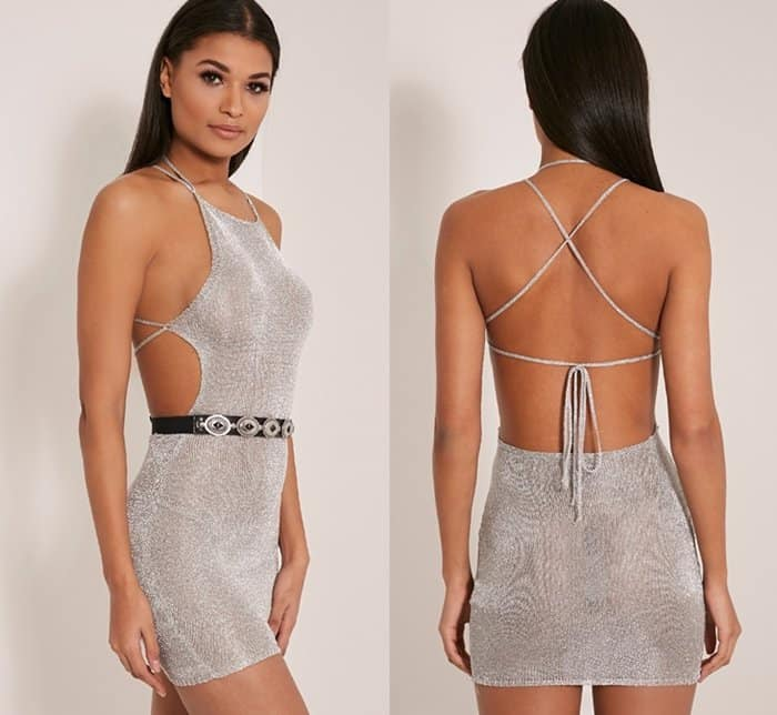PrettyLittleThing Charlay Gold metallic knit dress in silver