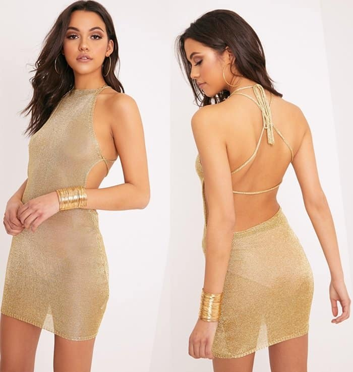 PrettyLittleThing Charlay Gold metallic knit dress in gold