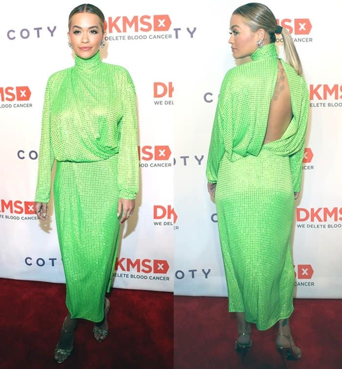 Rita Ora wearing a hard-to-pull-off dress is from Emilio Pucci's Fall 2017 Collection
