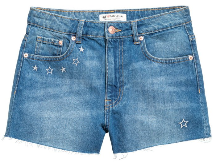 H&M Loves Coachella Embroidered Denim Shorts