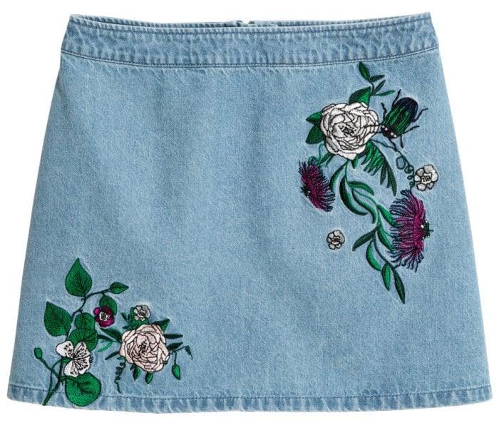 H&M Loves Coachella Embroidered Denim Skirt