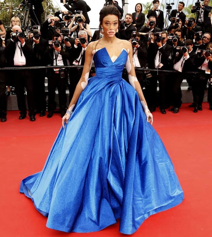 Winnie Harlow at the 70th annual Cannes Film Festival 'Nelyubov' premiere held at Palais des Festivals in Cannes, France.