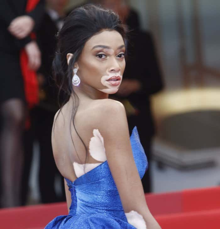 Supermodel Winnie Harlow's Zuhair Murad gown featured shimmering details and a stunning train and skirt that just wowed the crowd