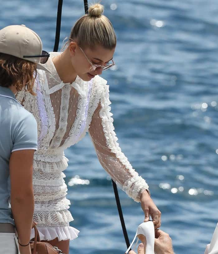 Hailey Baldwin Flaunts Legs At Cannes In Sheer Lacy