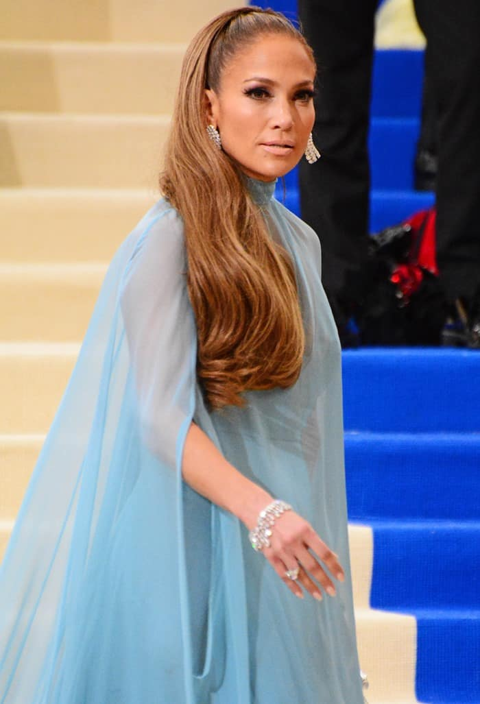 Jennifer Lopez wearing a 60's inspired Valentino gown at the 2017 Metropolitan Costume Institute Benefit Gala held at the Metropolitan Museum of Art in New York City, on May 1, 2017