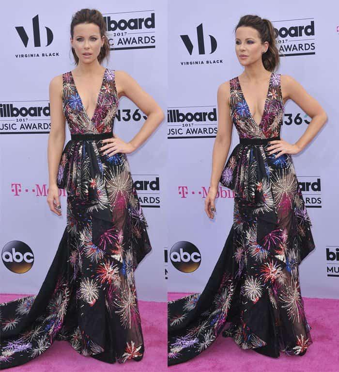 Kate Beckinsale in a plunging neckline dress