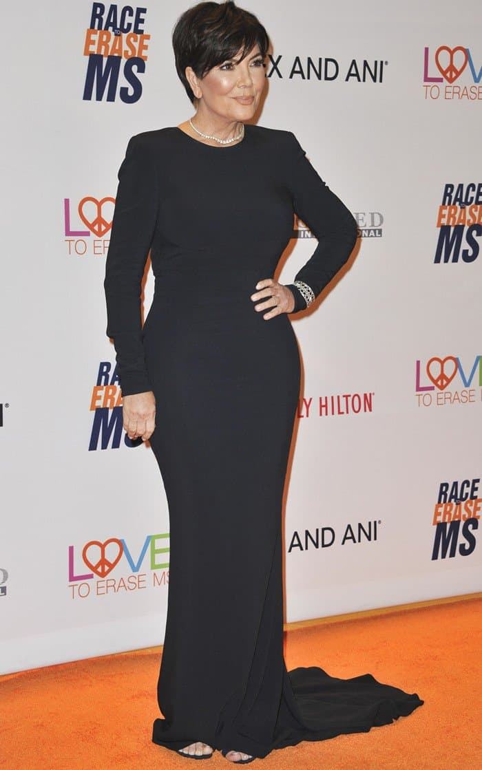 Kris Jenner wearing a flattering gown at the Race to Erase MS Gala at The Beverly Hilton Hotel in Beverly Hills, California, on May 5, 2017