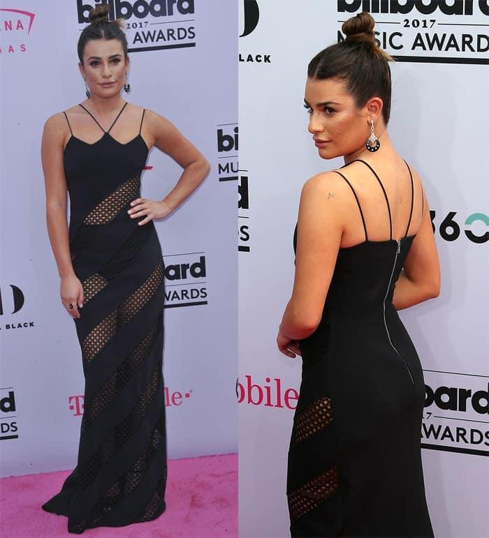 Lea Michele dons a black see-through dress