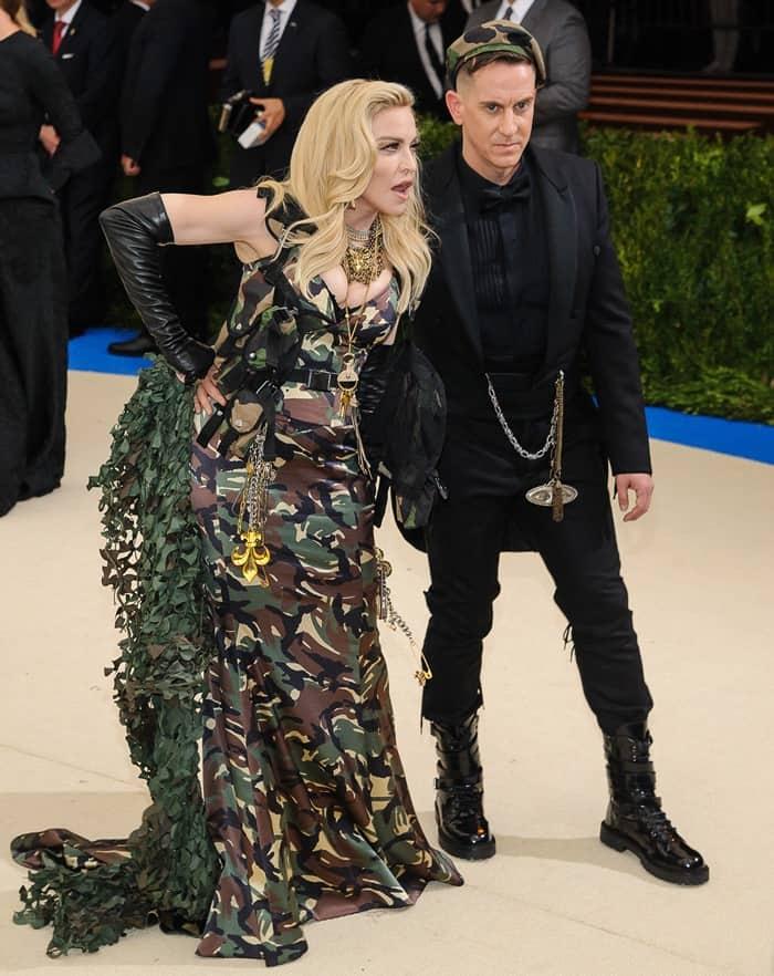 Madonna posing with Moschino's designer Jeremy Scott