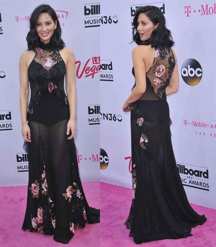 Olivia Munn shows off figure in see-through gown