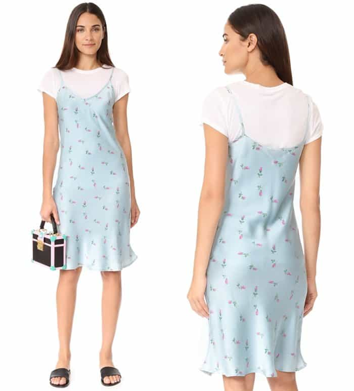 One by Unveil Project printed floral slip dress in blue floral