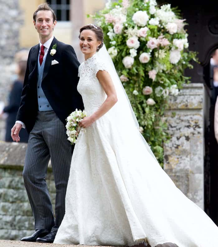 The happy couple leaving St. Mark's Church after tying the knot