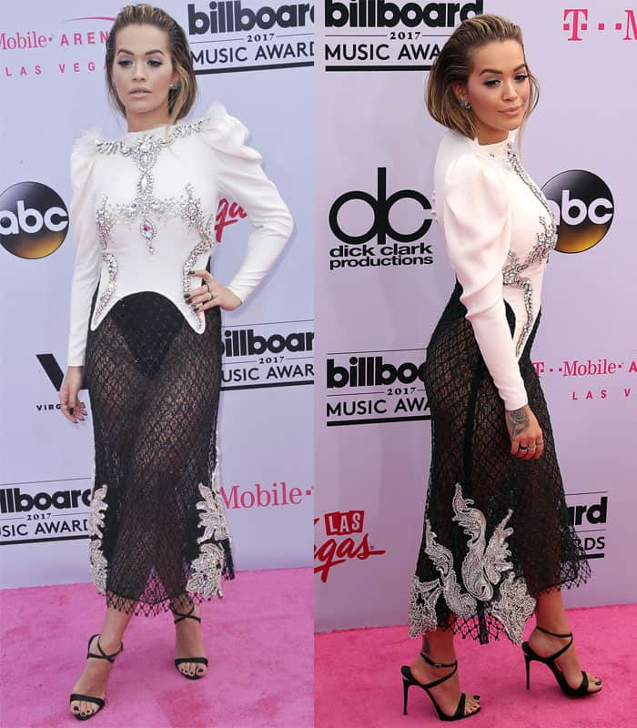 Rita Ora wears an embellished dress with see-through skirt