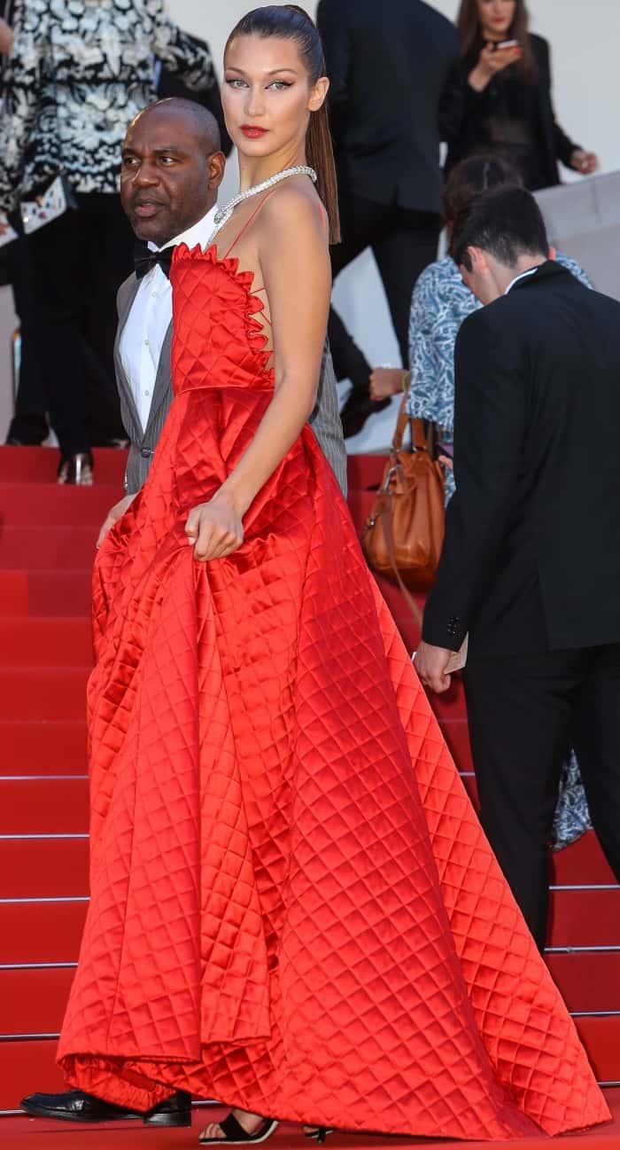 "Bella Hadid in Christian Dior Haute Couture at the 70th Cannes Film Festival ""Okja"" premiere"