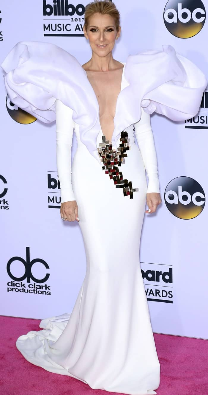 Celine Dion wearing a Stephane Rolland spring 2017 couture gown at the 2017 Billboard Music Awards