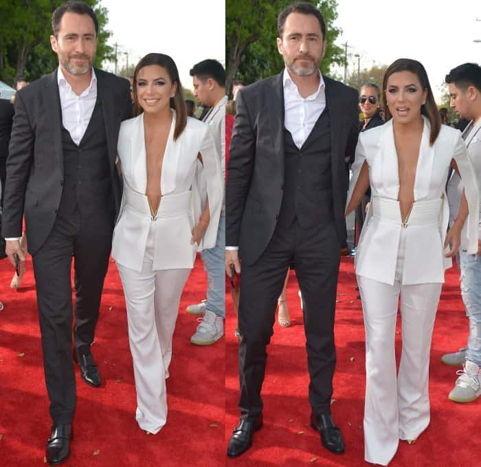 "Eva Longoria with her ""Lowriders"" co-star Demian Bichir at the 2017 Billboard Latin Music Awards"