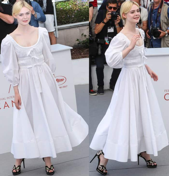 "Elle Fanning wearing head-to-toe Alexander McQueen at ""The Beguiled"" photocall during the 70th annual Cannes Film Festival"