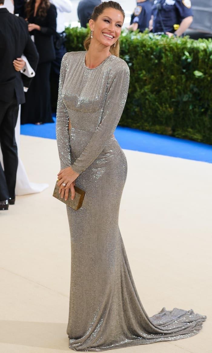 Gisele Bündchen wearing a bespoke Stella McCartney gown at the 2017 Met Gala