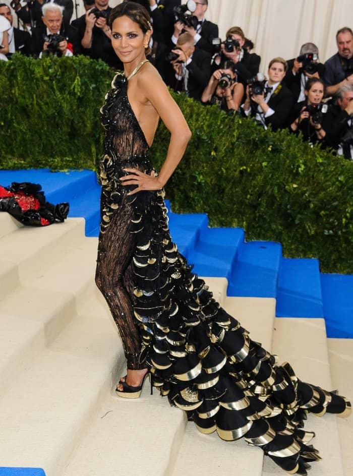 Halle Berry wearing a custom Atelier Versace look at the 2017 Met Gala
