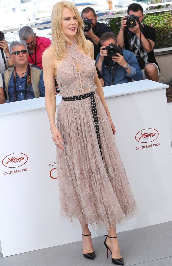 "Nicole Kidman wearing an Alexander McQueen dress and Christian Louboutin ankle-strap pumps at ""The Beguiled"" photocall during the 70th annual Cannes Film Festival"