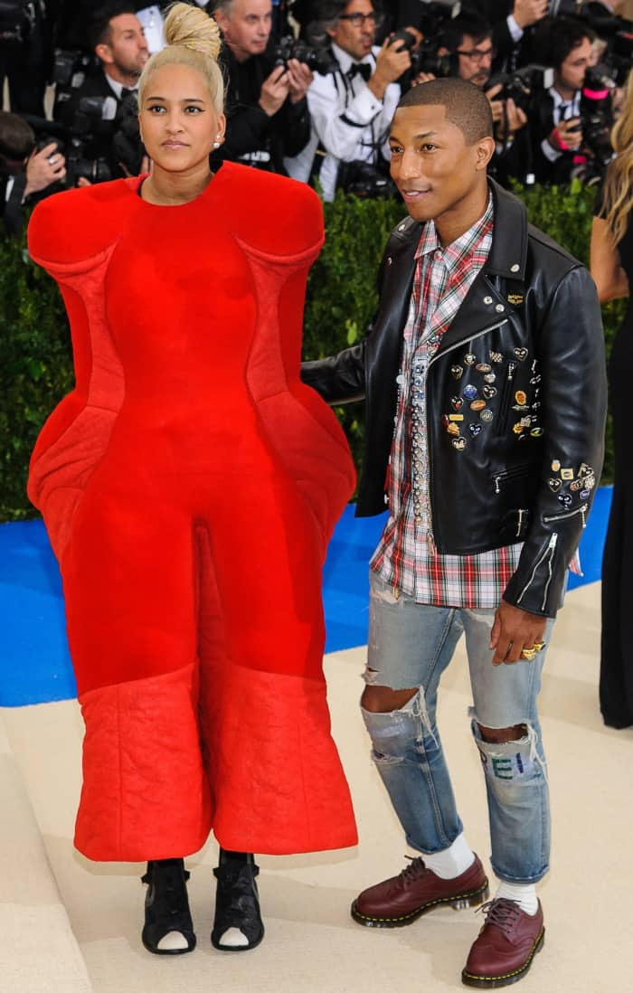 Helen Lasichanh and Pharrell Williams wearing Comme des Garçons at the 2017 Met Gala