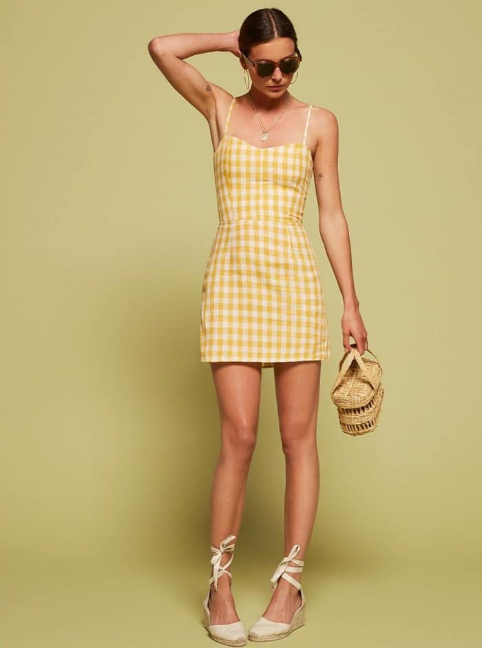 Get Summer Vibes In Reformation S Audrey Yellow Gingham