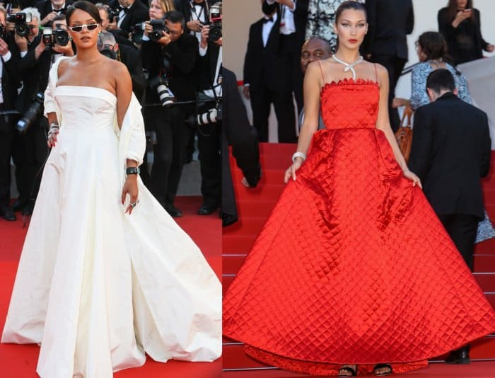 "Christian Dior Haute Couture looks from Rihanna and Bella Hadid at the ""Okja"" premiere during the 70th Cannes Film Festival"