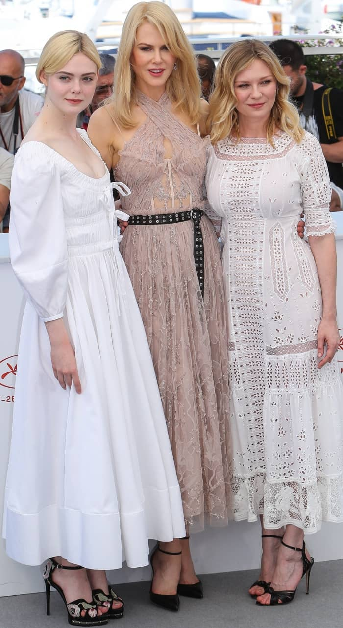 "Elle Fanning, Nicole Kidman, and Kirsten Dunst at the photocall for ""The Beguiled"" during the 70th annual Cannes Film Festival"