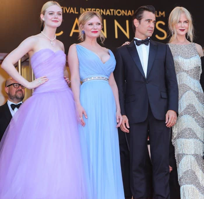 "Elle Fanning, Kirsten Dunst, Colin Farrell, and Nicole Kidman at the premiere of ""The Beguiled"" during the 70th annual Cannes Film Festival"